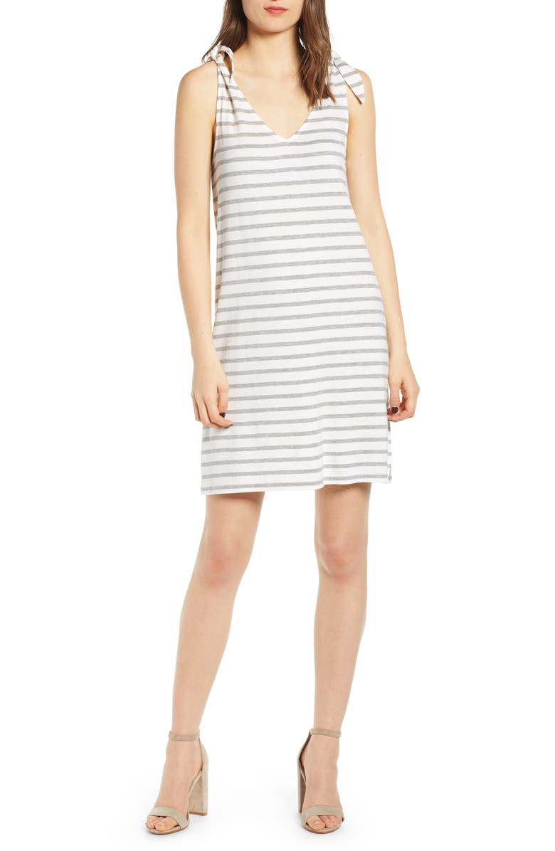 CUPCAKES AND CASHMERE French Terry Stripe Dress, Main, color, IVORY