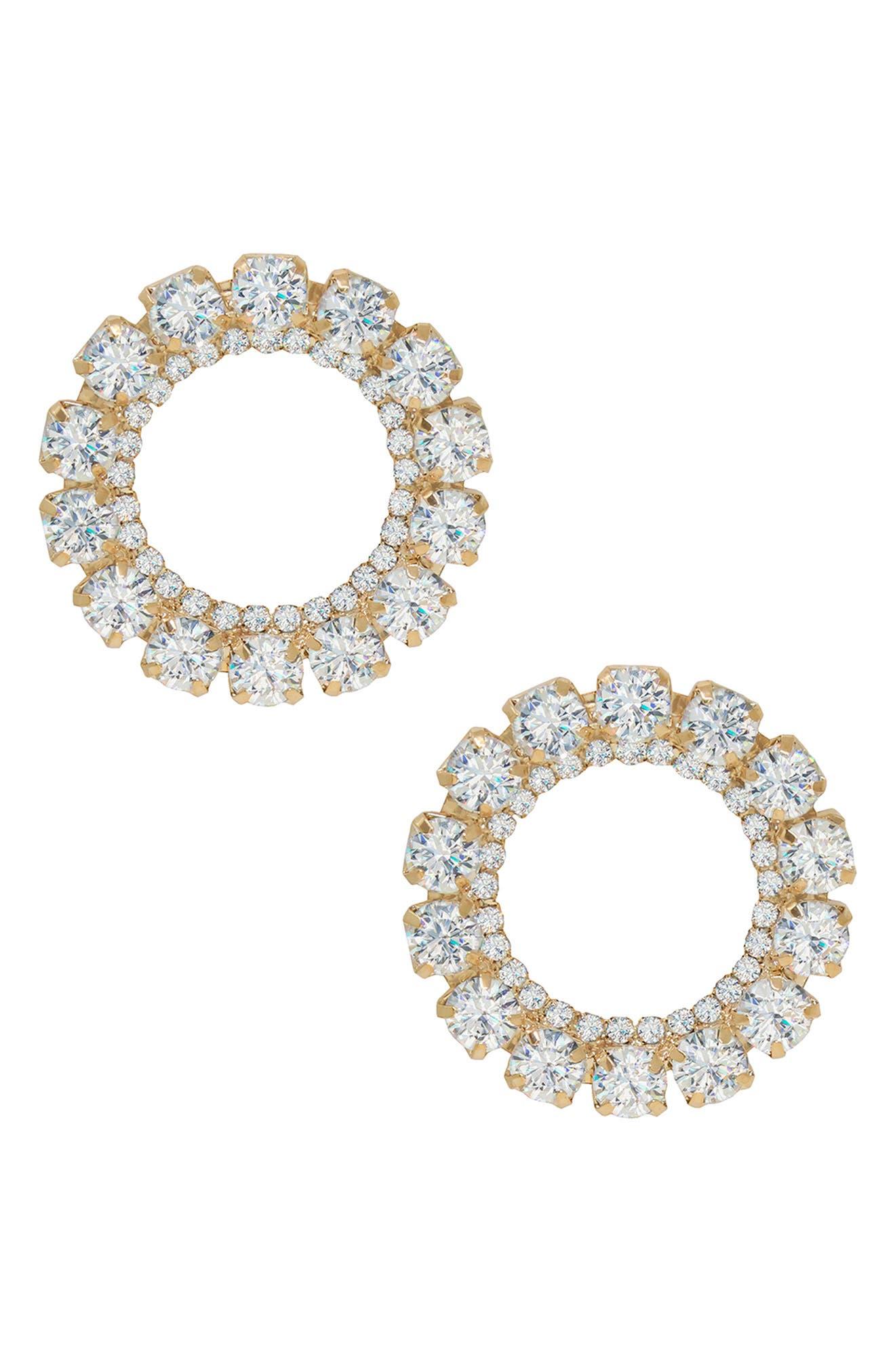 Large Crystal Circle Stud Earrings