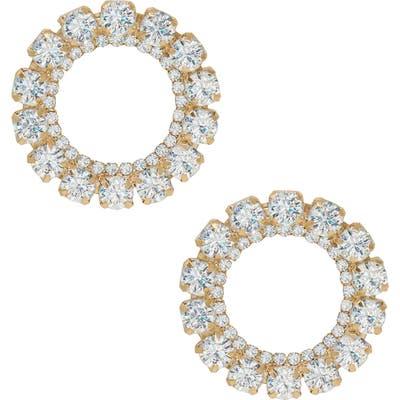 Ettika Large Crystal Circle Stud Earrings