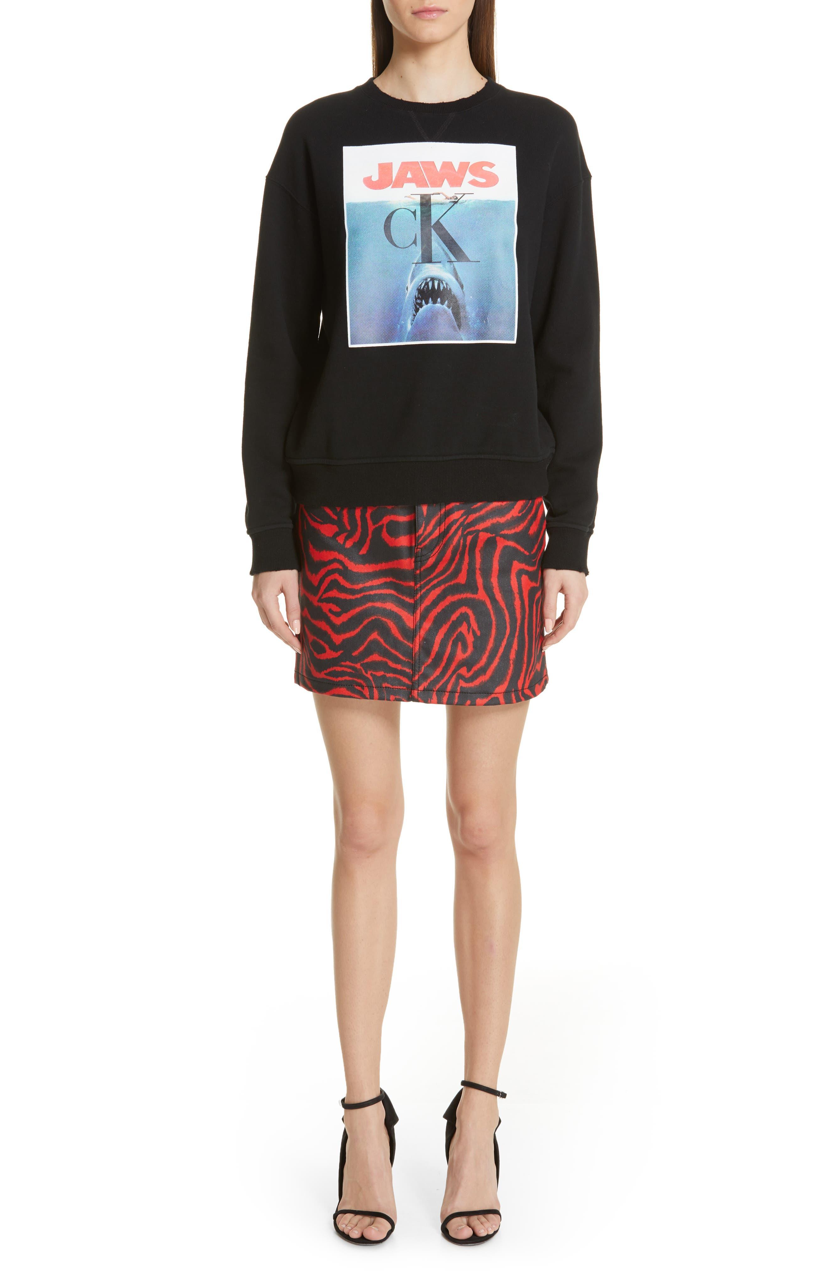 ,                             'Jaws' Graphic Sweatshirt,                             Alternate thumbnail 8, color,                             BLACK