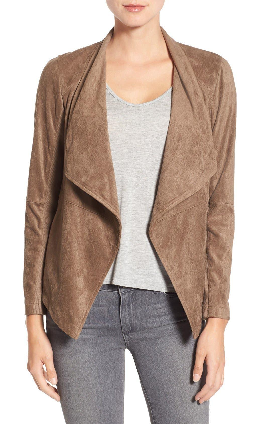 ,                             Nicholson Faux Suede Drape Front Jacket,                             Main thumbnail 12, color,                             202