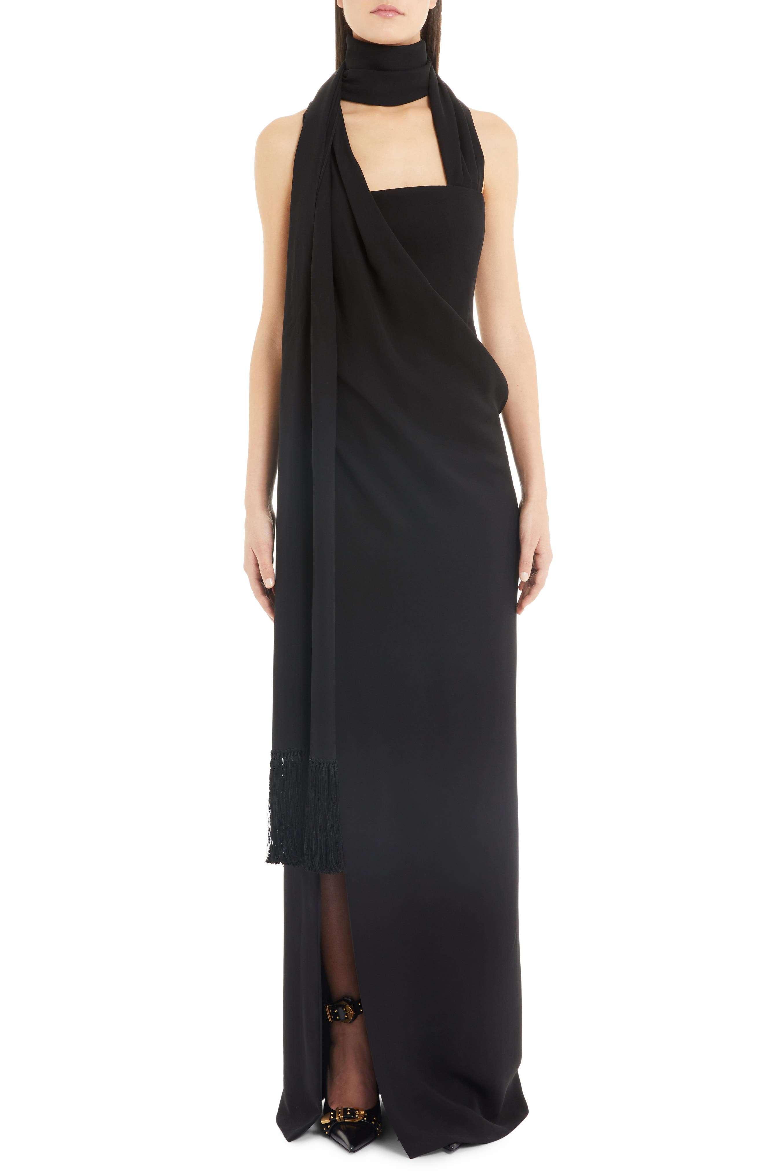Versace Side Drape Gown, US / 40 IT - Black
