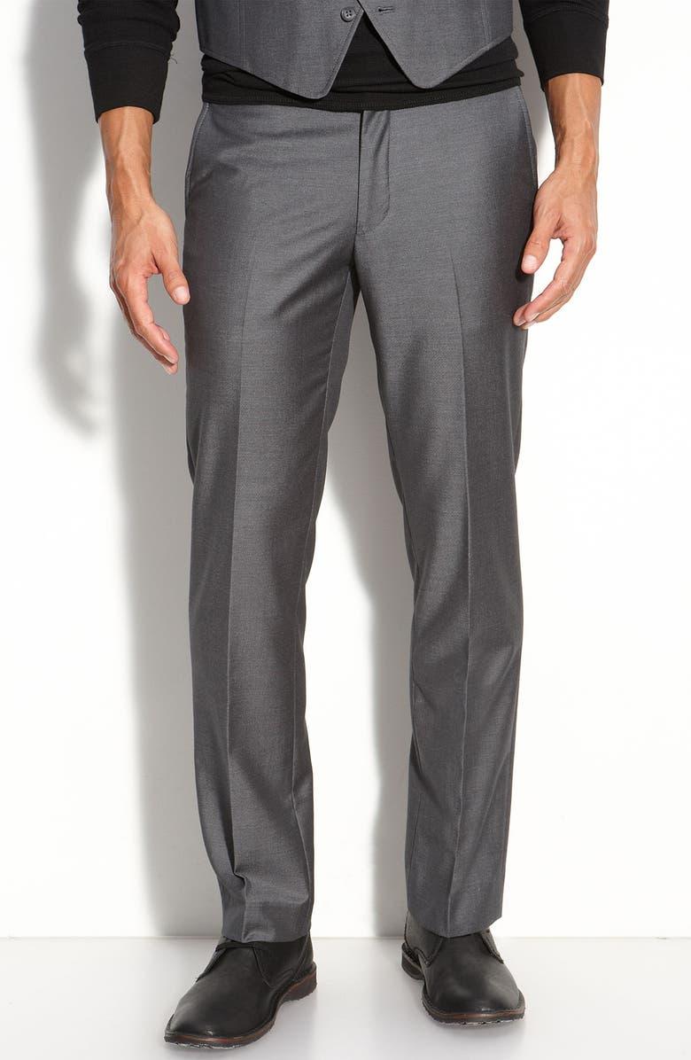 JOHN VARVATOS STAR USA RED LABEL John Varvatos Star USA Flat Front Wool Trousers, Main, color, 021