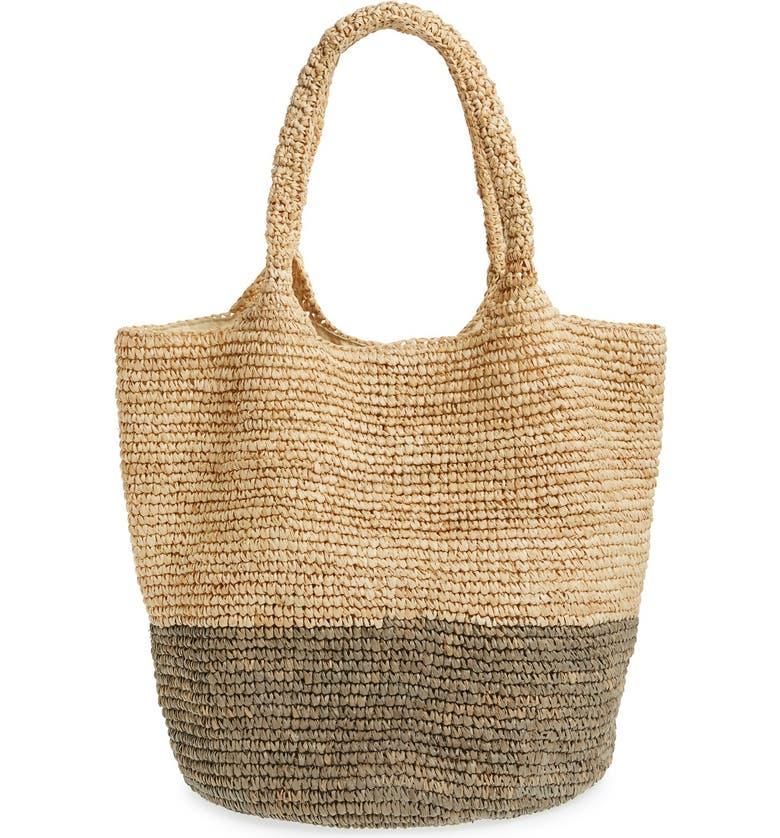 STRAW STUDIOS Colorblock Straw Shoulder Bag, Main, color, 021