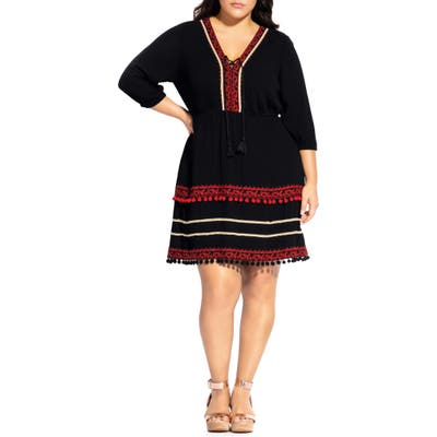 Plus Size City Chic In The Details Embroidered Pompom Trim Dress, Black