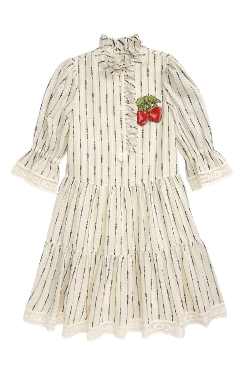 GUCCI Strawberry Patch Jacquard Stripe Dress, Main, color, WHITE/ BLUE
