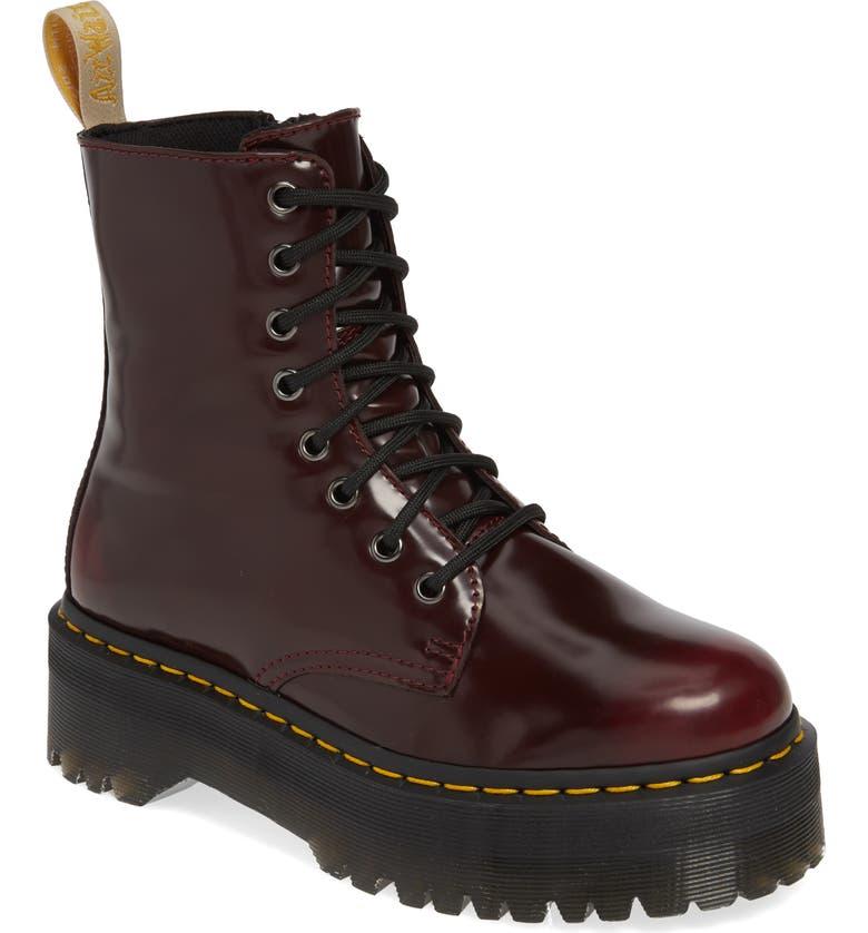 DR. MARTENS Jadon Platform Boot, Main, color, CHERRY RED