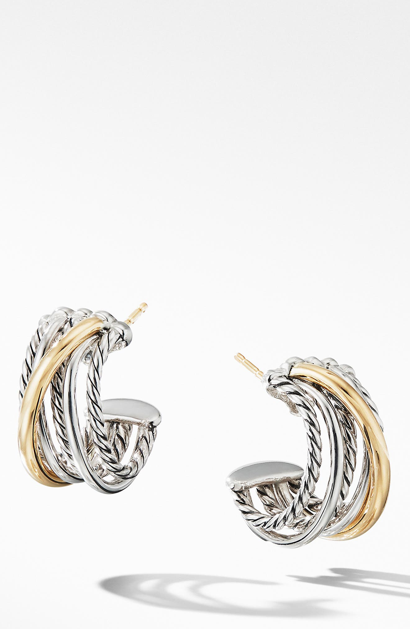 ,                             Crossover Huggie Hoop Earrings,                             Main thumbnail 1, color,                             SILVER/ GOLD