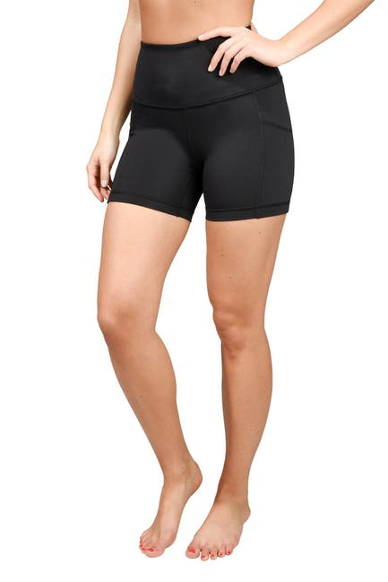 Image of 90 Degree By Reflex Interlink High Rise Peached Pocket Biker Shorts