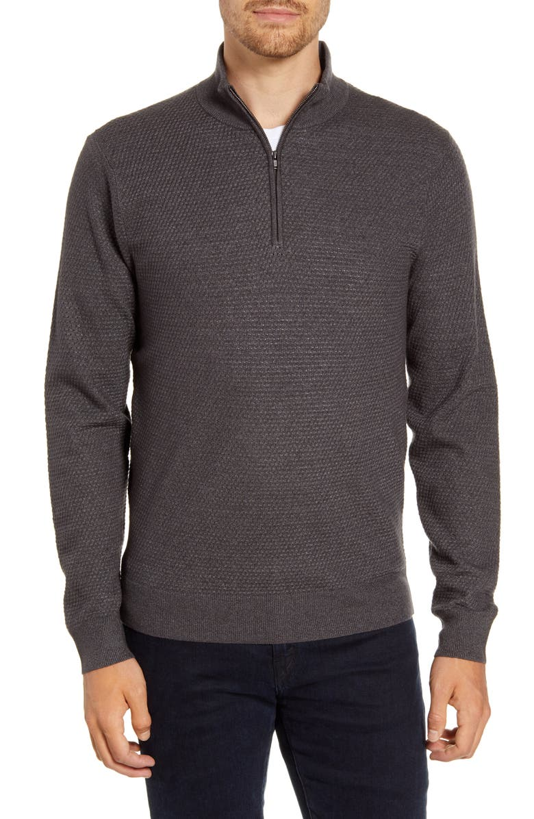 NORDSTROM MEN'S SHOP Textured Quarter Zip Sweater, Main, color, GREY TORNADO MARL