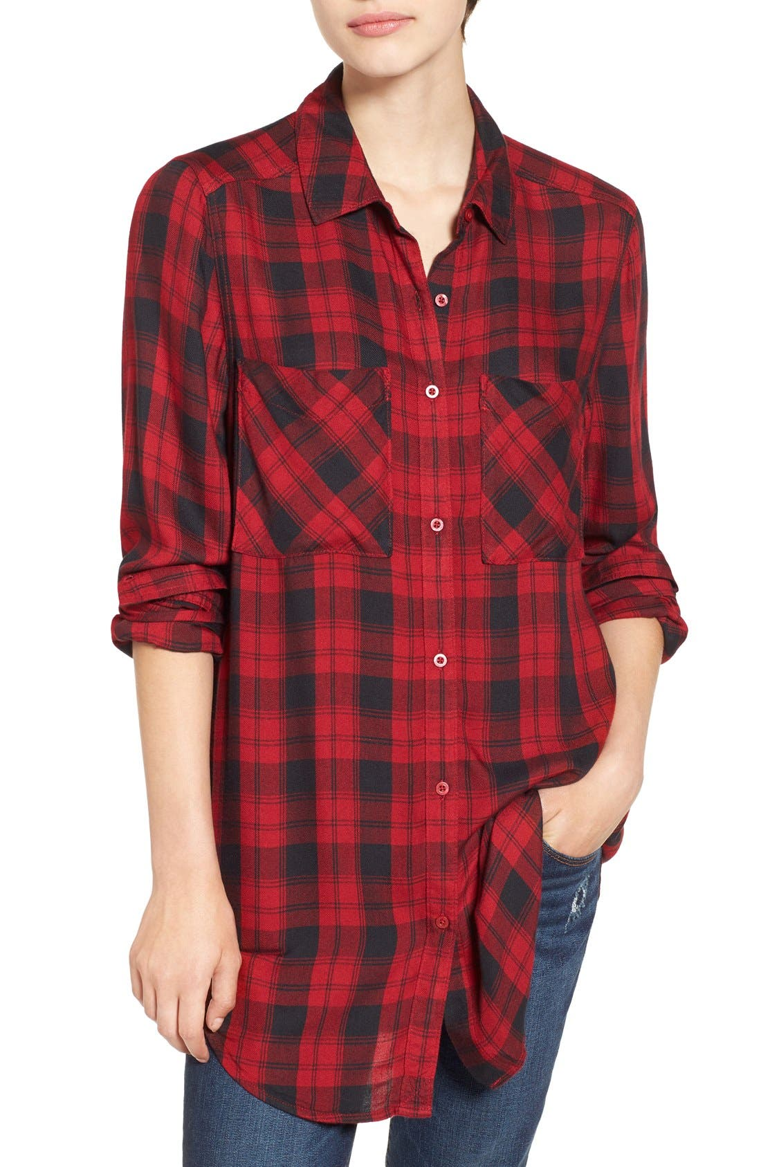 ,                             Plaid Tunic Shirt,                             Main thumbnail 37, color,                             610