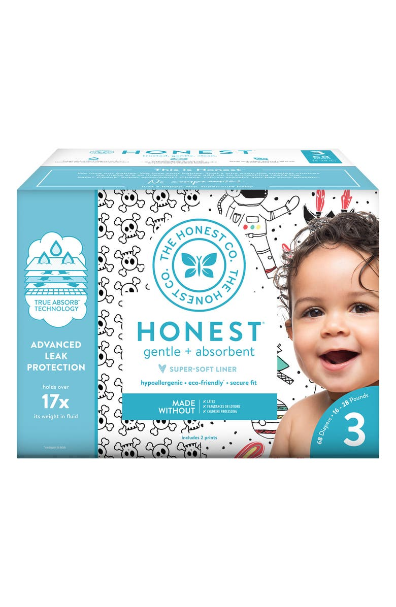 THE HONEST COMPANY Skulls/Space Travel Size 3 Club Box Diapers, Main, color, SKULLS/ SPACE TRAVEL