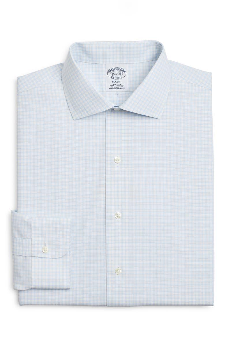 BROOKS BROTHERS Regent Regular Fit Check Dress Shirt, Main, color, WHITE