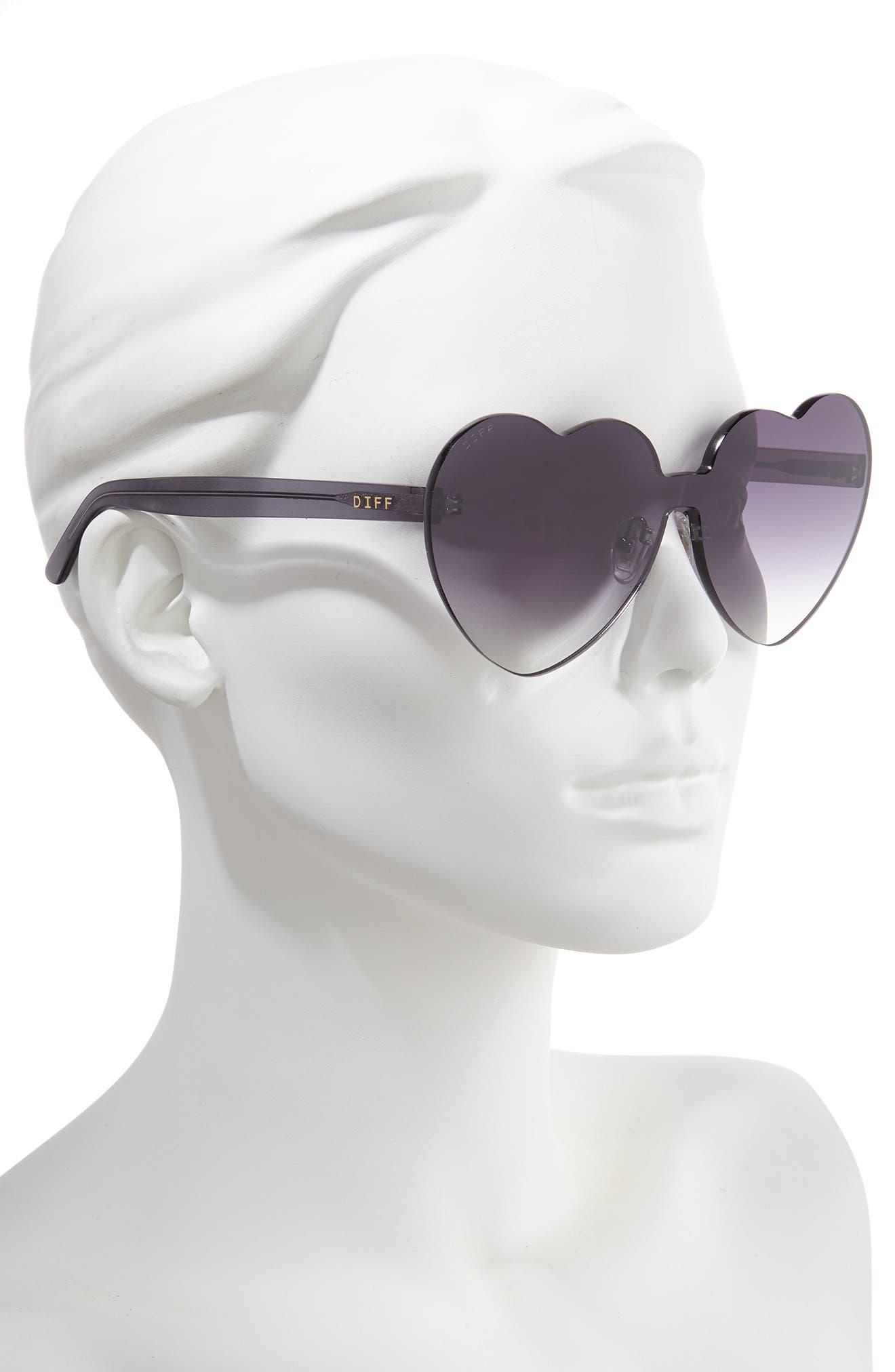 ,                             Rio 64mm Heart Shaped Sunglasses,                             Alternate thumbnail 2, color,                             BLACK/ SMOKE GREY