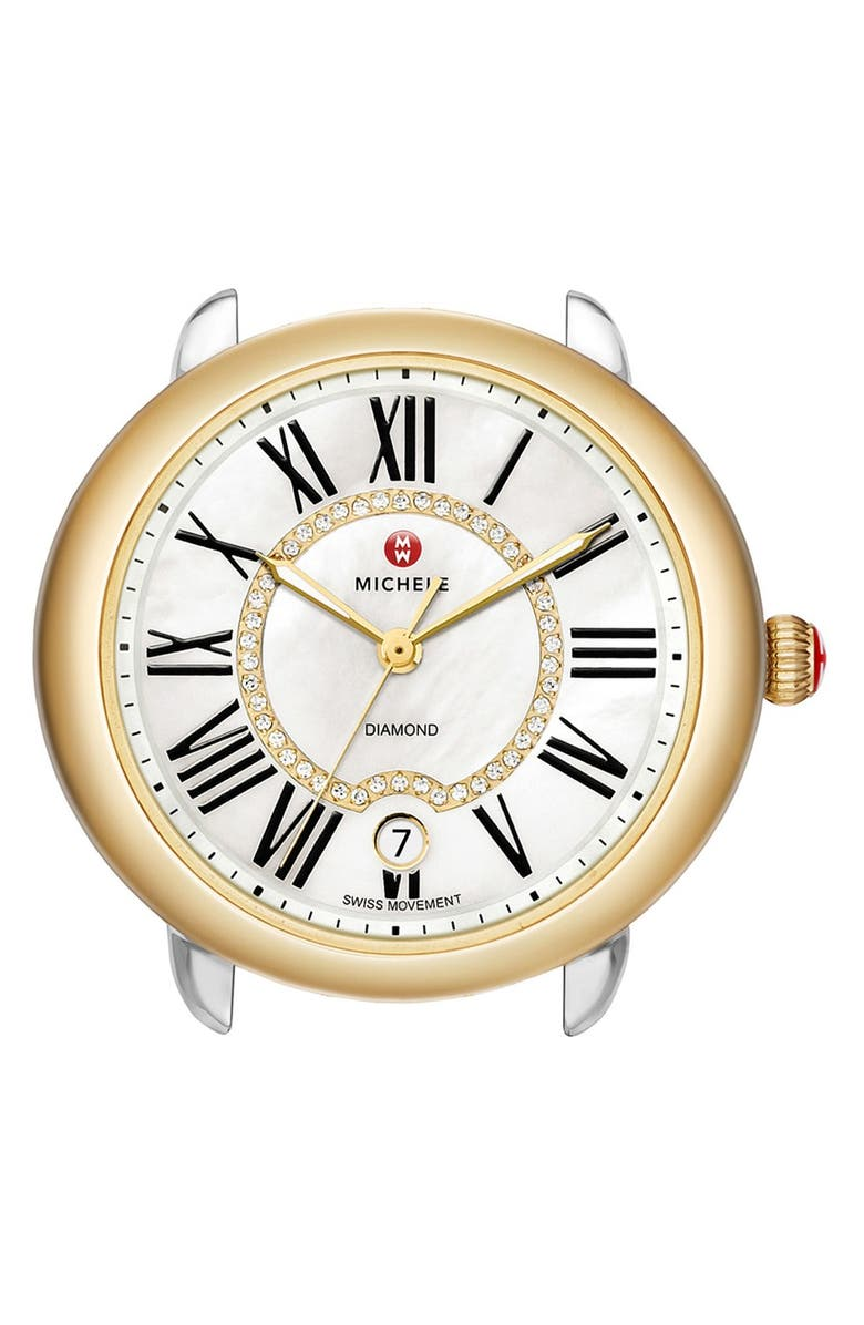 MICHELE Serein 16 Diamond Dial Two-Tone Round Watch Head, 34mm x 36mm, Main, color, SILVER/ GOLD