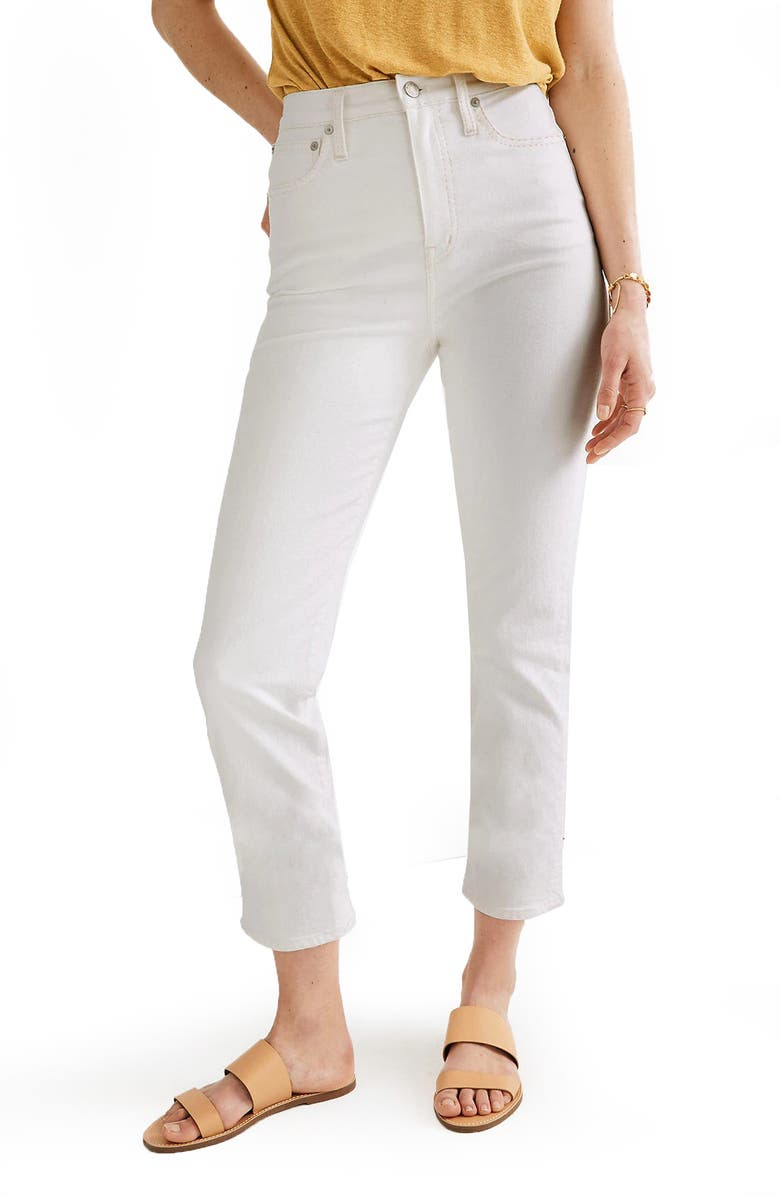 MADEWELL Classic Straight Jeans, Main, color, TILE WHITE