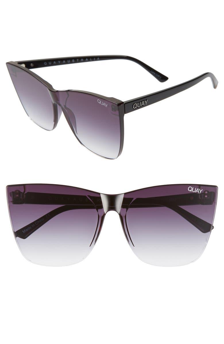 QUAY AUSTRALIA Come Thru 56mm Gradient Cat Eye Sunglasses, Main, color, BLACK/ FADE