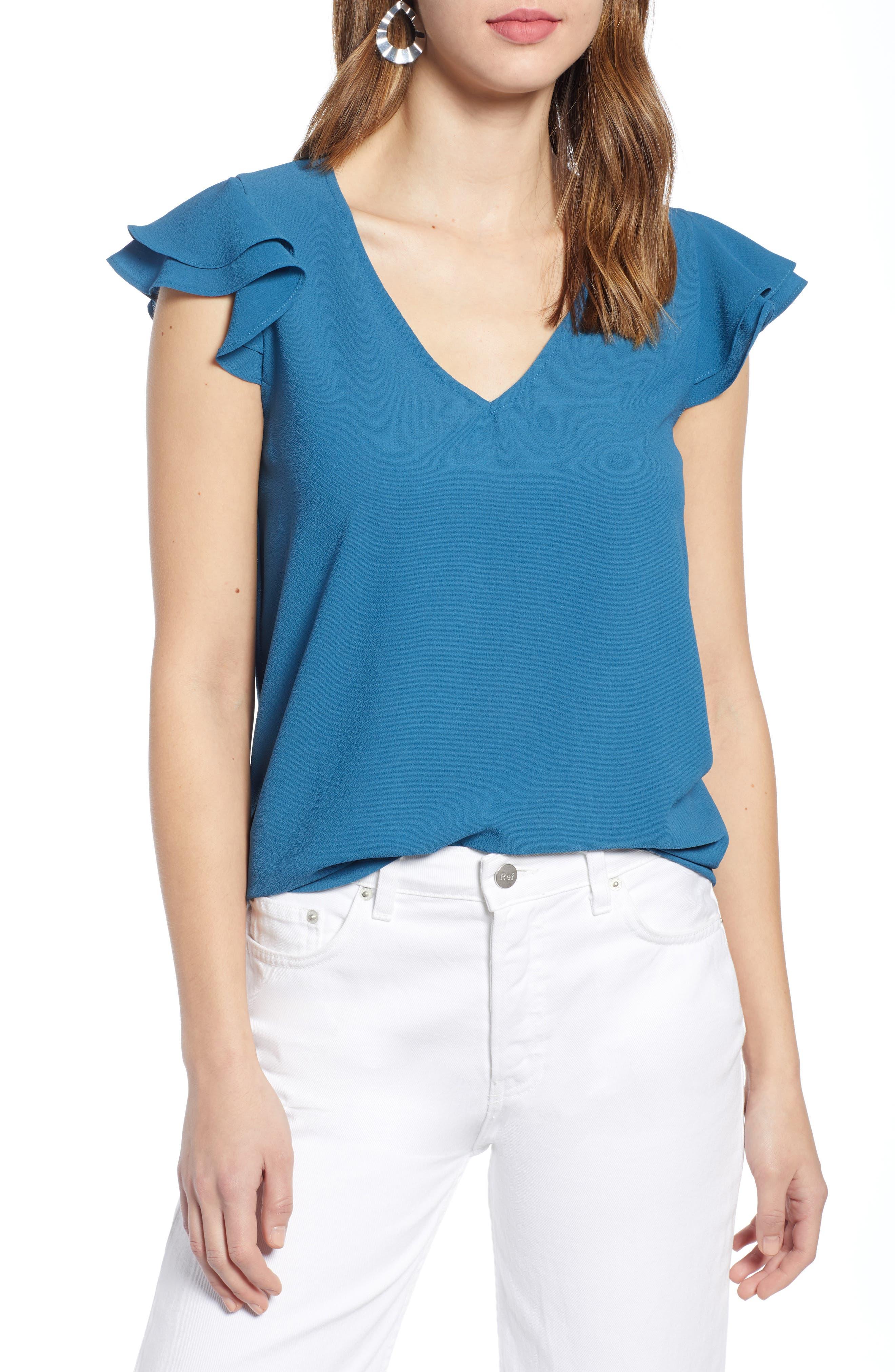 Flutter Sleeve Top, Main, color, DARK TEAL