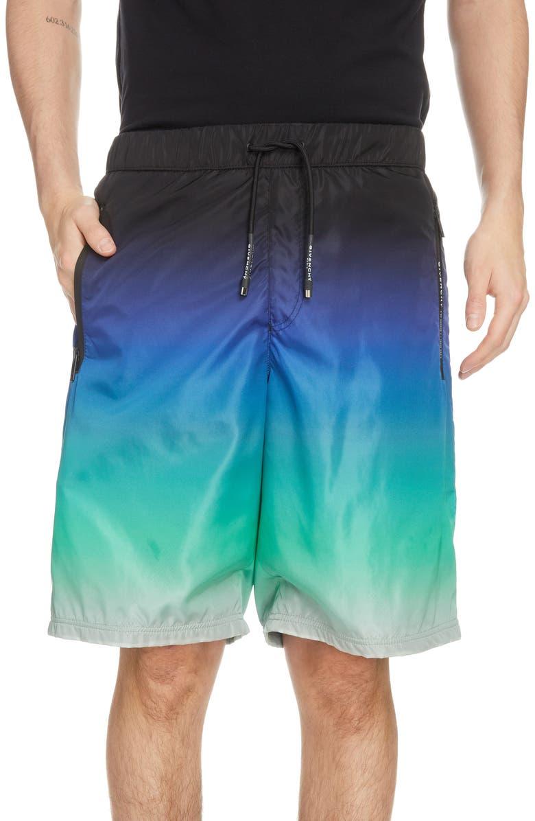 GIVENCHY Drawstring Waist Jogger Shorts, Main, color, BLUE/GREEN/WHITE