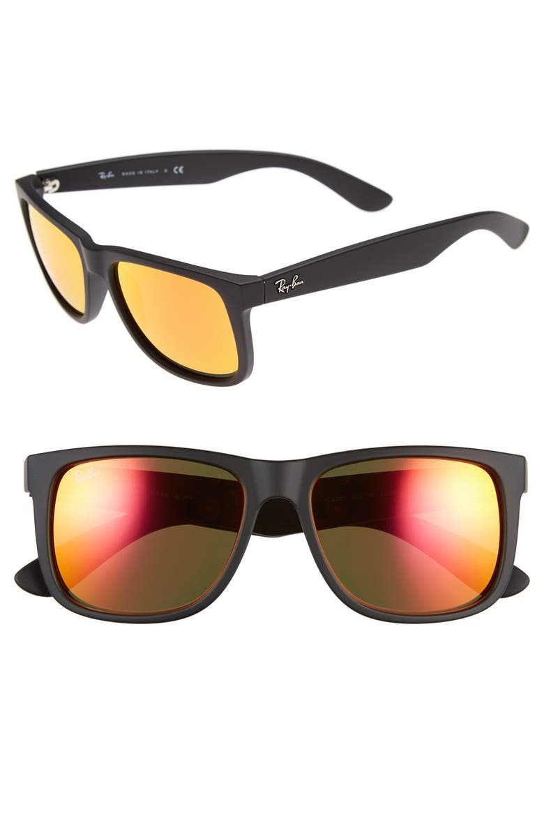 RAY-BAN 54mm Sunglasses, Main, color, BLACK/ BROWN MIRROR ORANGE