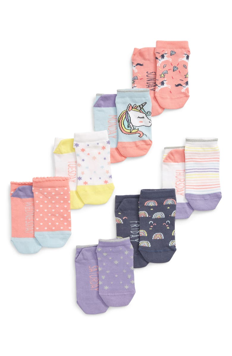TUCKER + TATE Days of the Week Assorted 7-Pack No-Show Socks, Main, color, 450