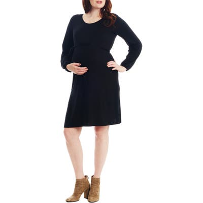 Everly Grey Alina Long Sleeve Jersey Maternity/nursing Dress, Black