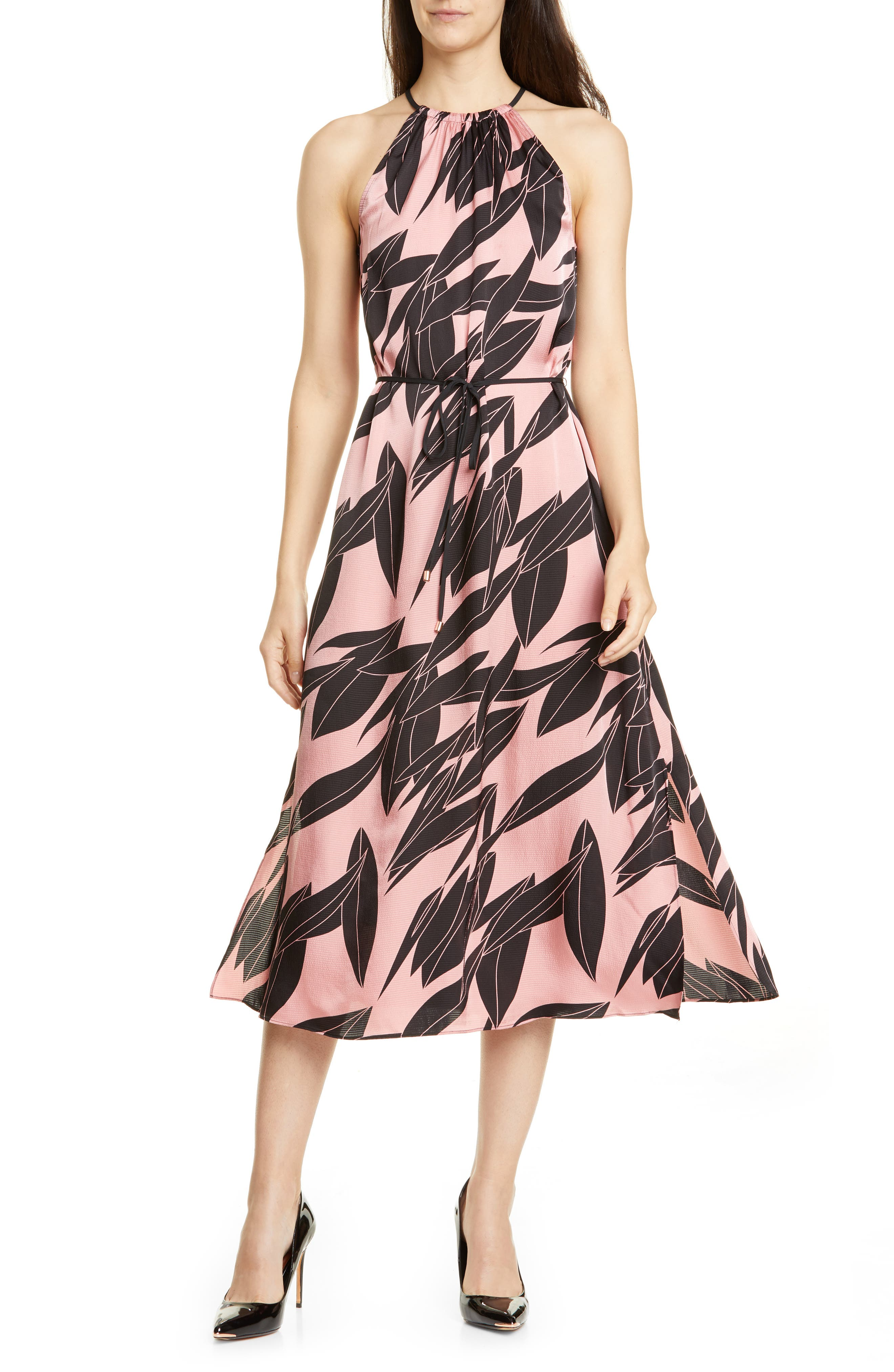 Ted Baker London Leahla Sour Cherry Halter Midi Dress, Pink