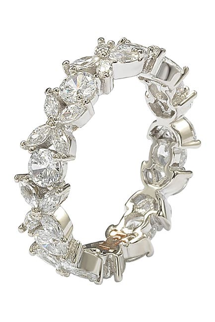Image of Suzy Levian Sterling Silver CZ Floral Eternity Band