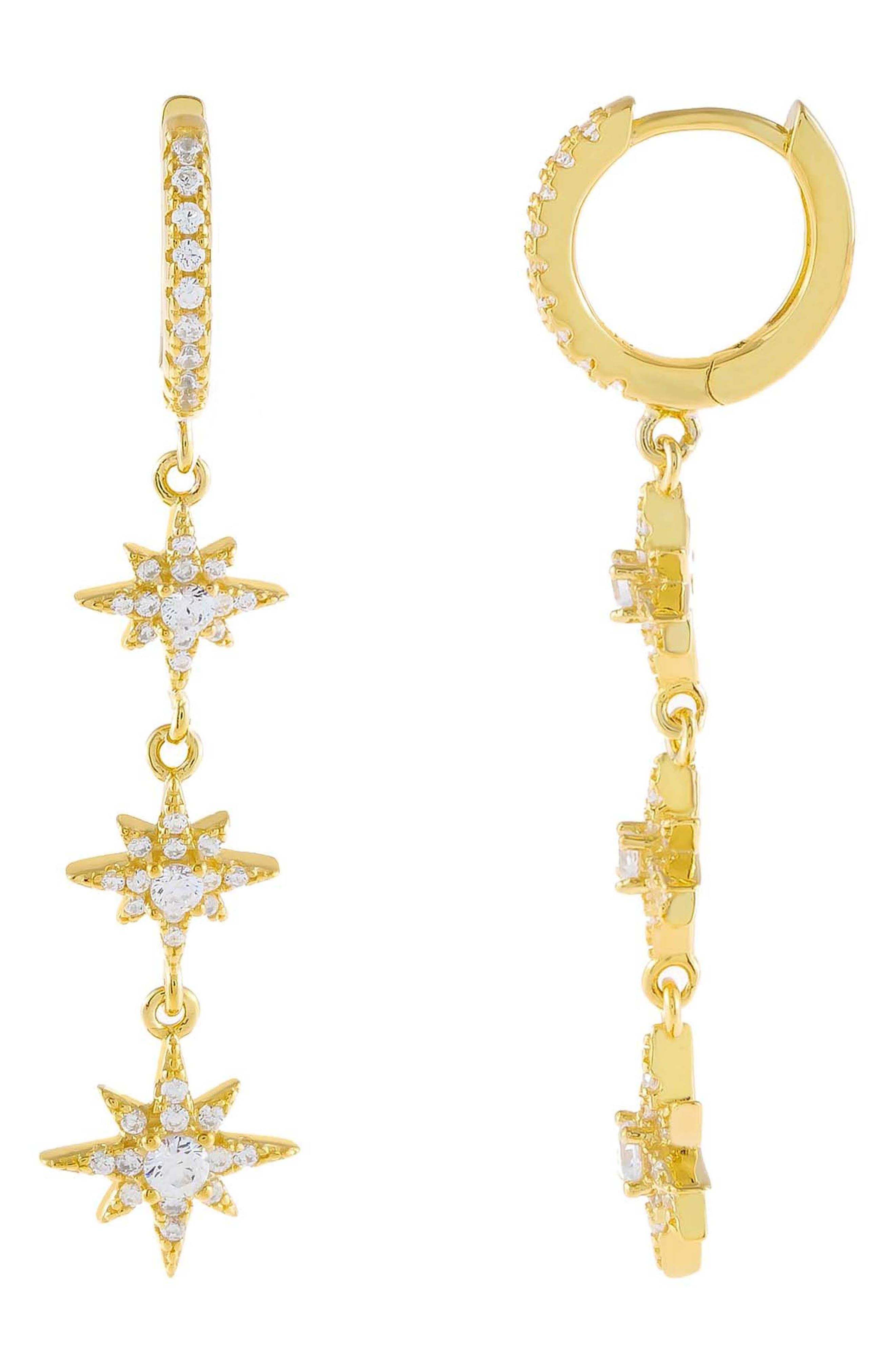 Women's Adina's Jewels Starburst Huggie Hoop Drop Earrings