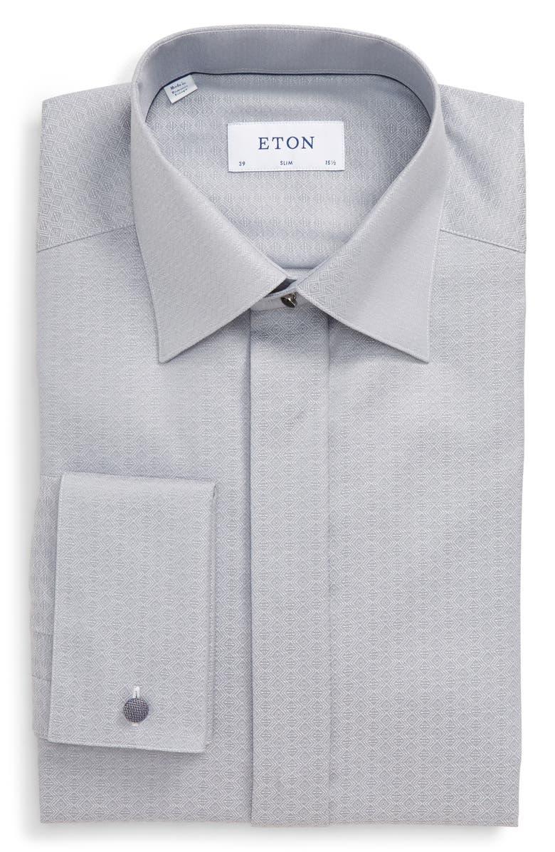 ETON Slim Fit Formal Dress Shirt, Main, color, GREY
