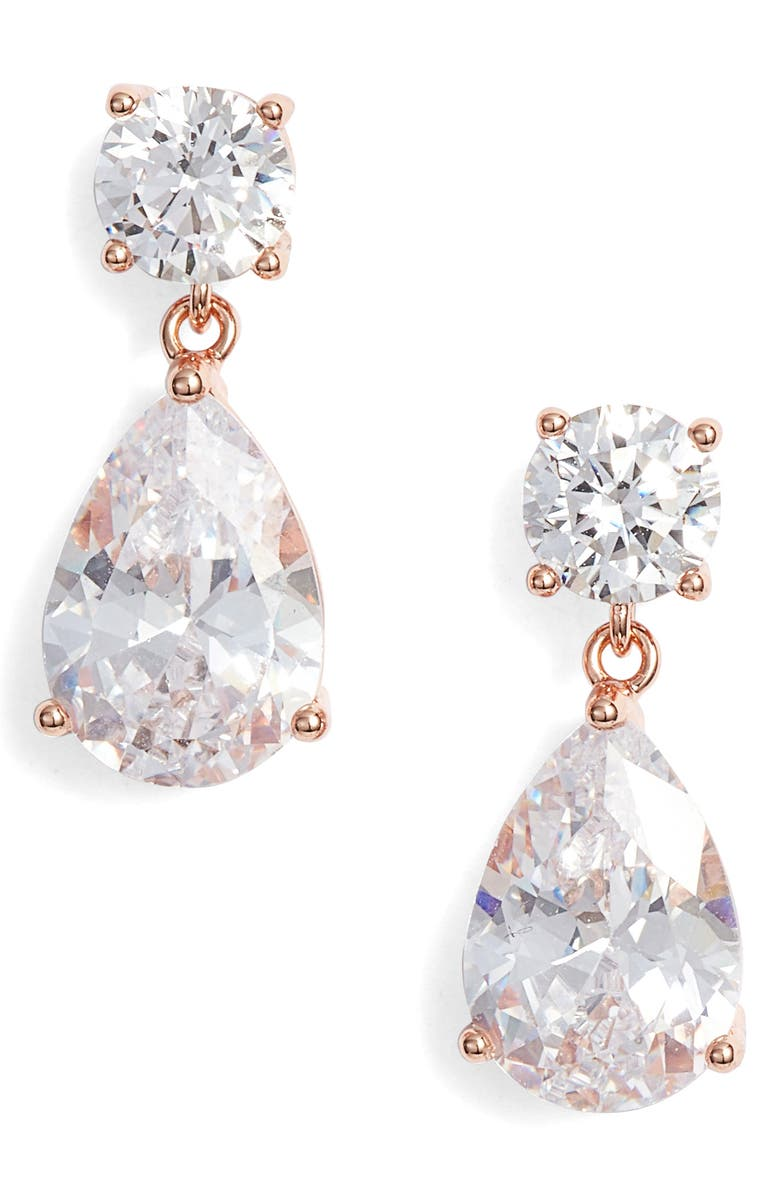 NORDSTROM Cubic Zirconia Teardrop Earrings, Main, color, CLEAR- ROSE GOLD