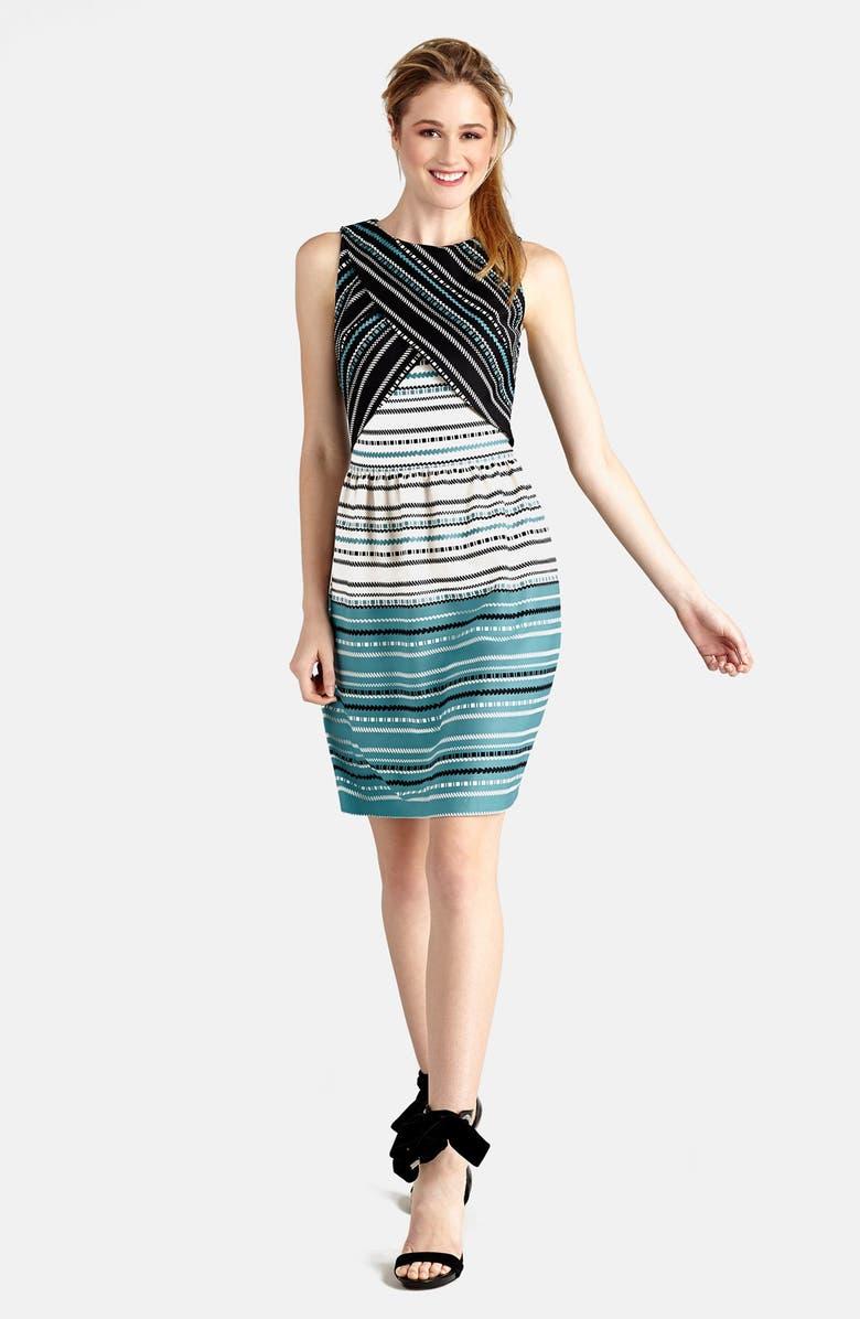 Donna Morgan Print Scuba Layered Bodice Fit Amp Flare Dress