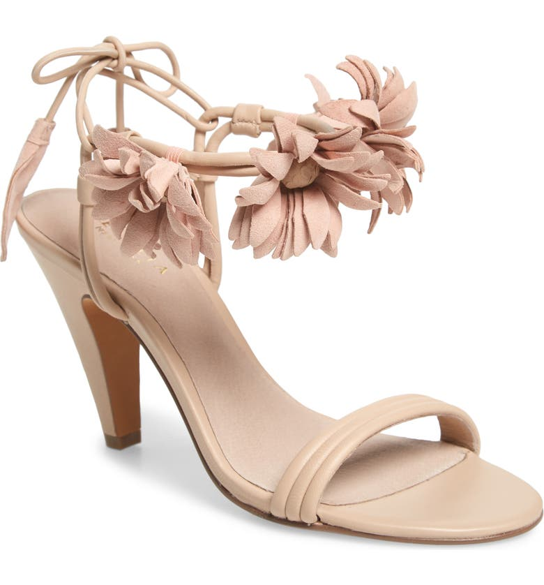 CECELIA NEW YORK Flower Ankle Wrap Sandal, Main, color, PEONY PINK/ FUCHSIA LEATHER