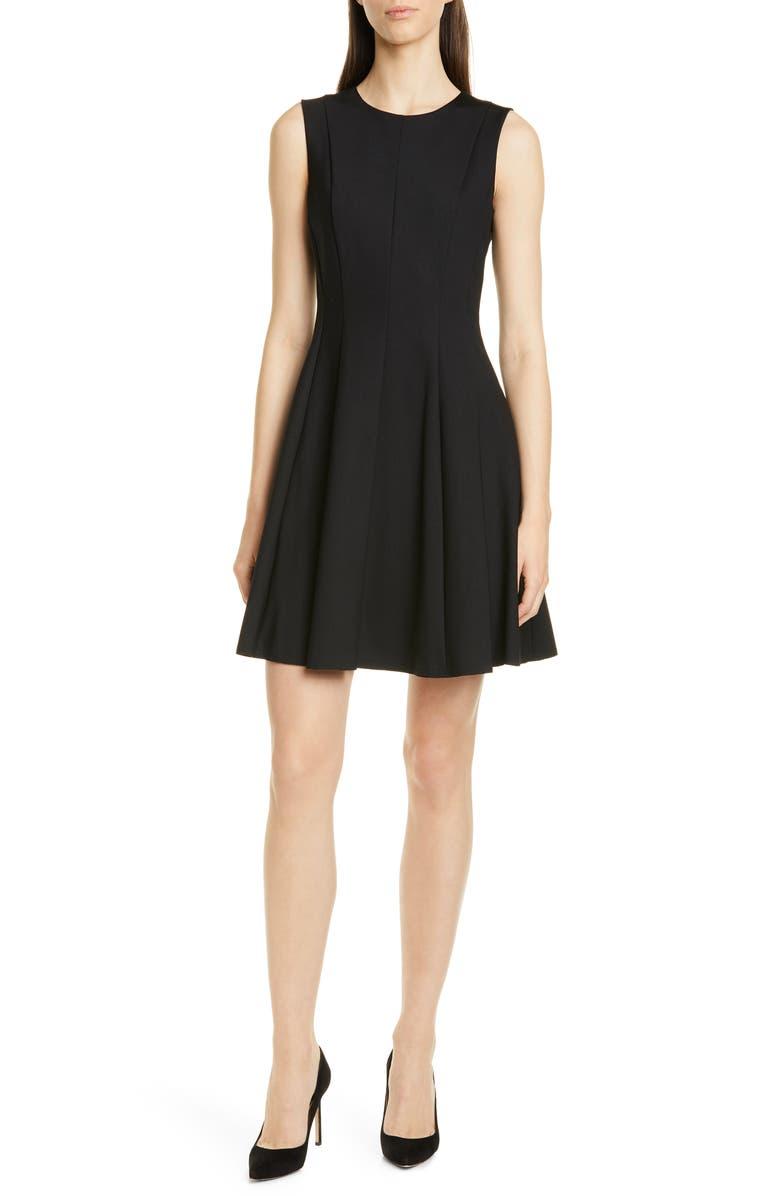 THEORY Sleeveless Fit & Flare Dress, Main, color, BLACK