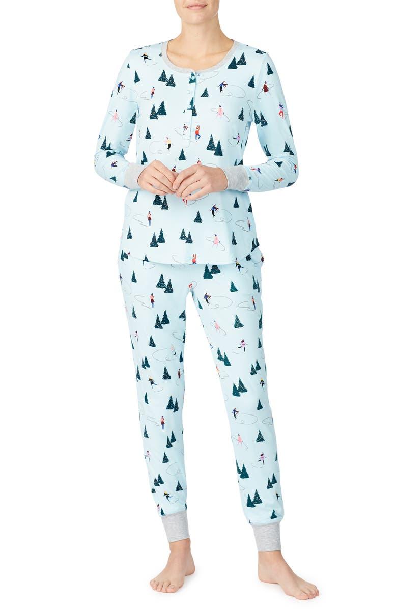 KATE SPADE NEW YORK print brushed jersey pajamas, Main, color, SKATERS