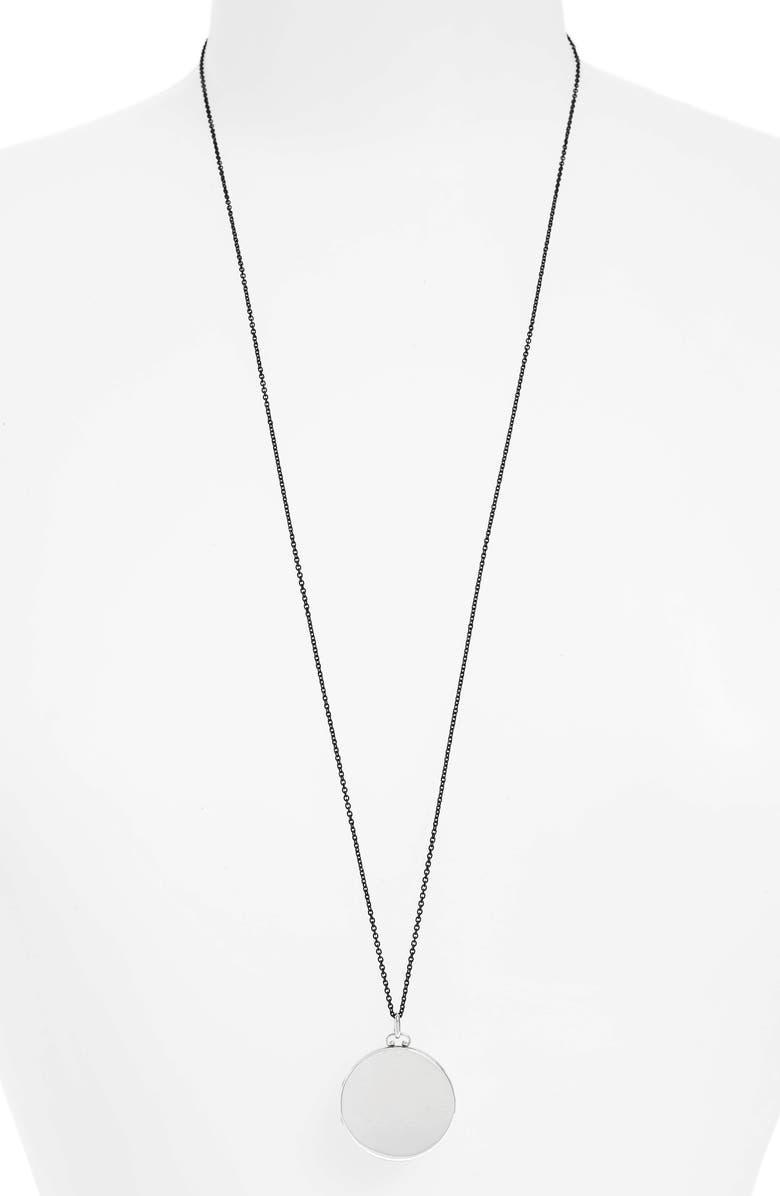 MONICA RICH KOSANN Round Dome Locket Necklace, Main, color, STERLING SILVER/ BLACK STEEL