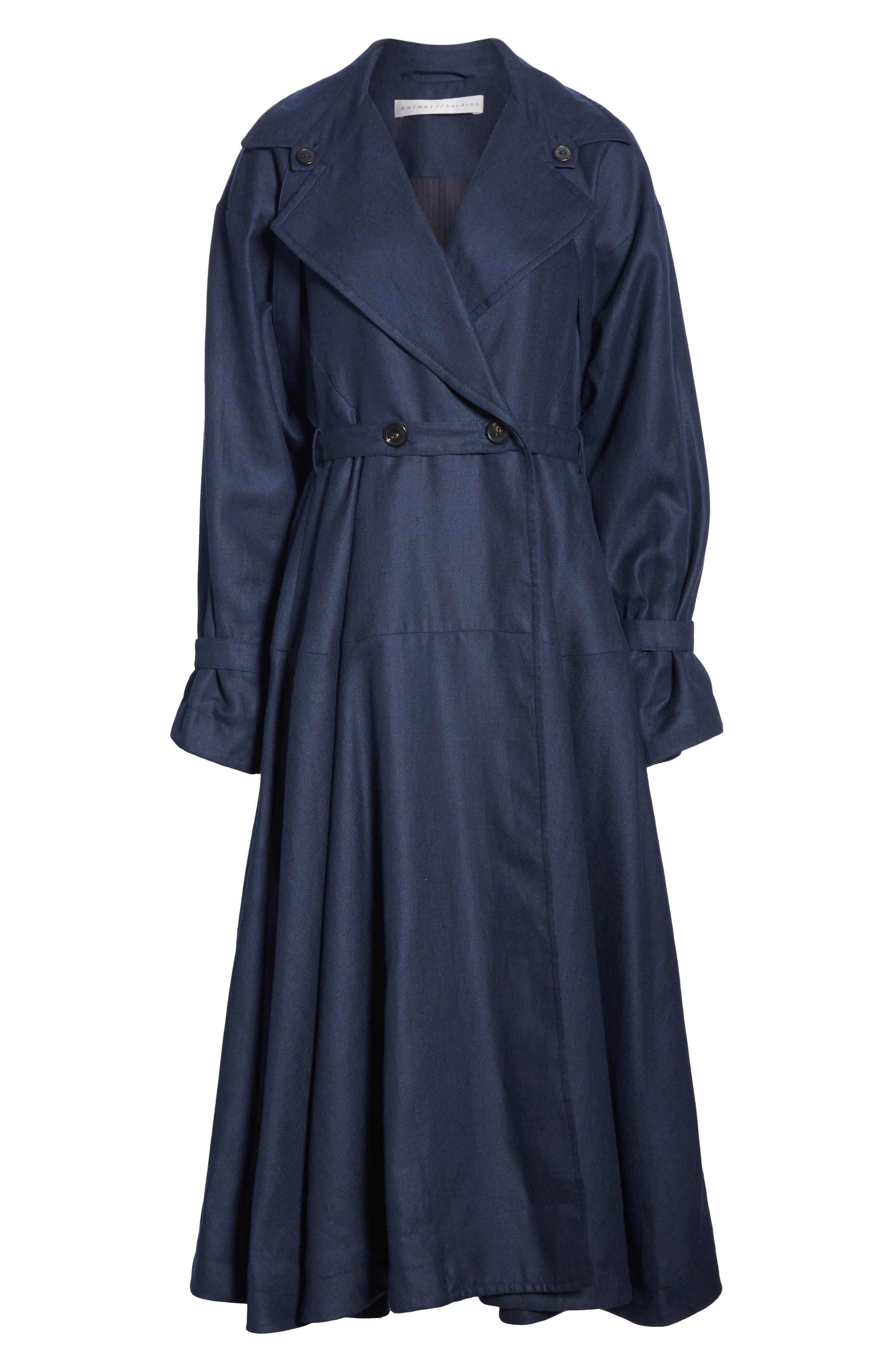 ,                             Carved Wool & Linen Coat,                             Alternate thumbnail 6, color,                             NAVY HERRINGBONE LINEN