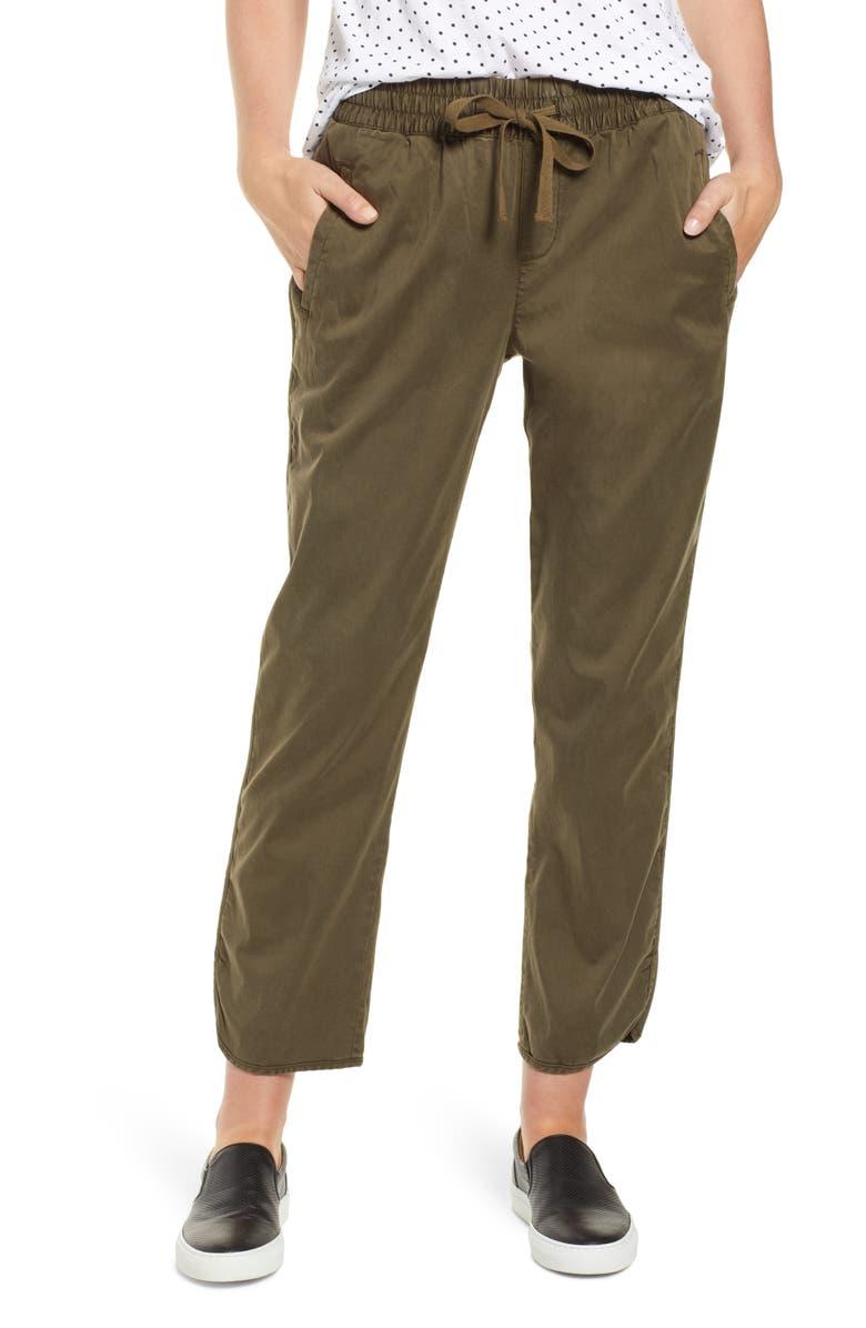 CASLON<SUP>®</SUP> Sandwashed Pull-On Pants, Main, color, OLIVE