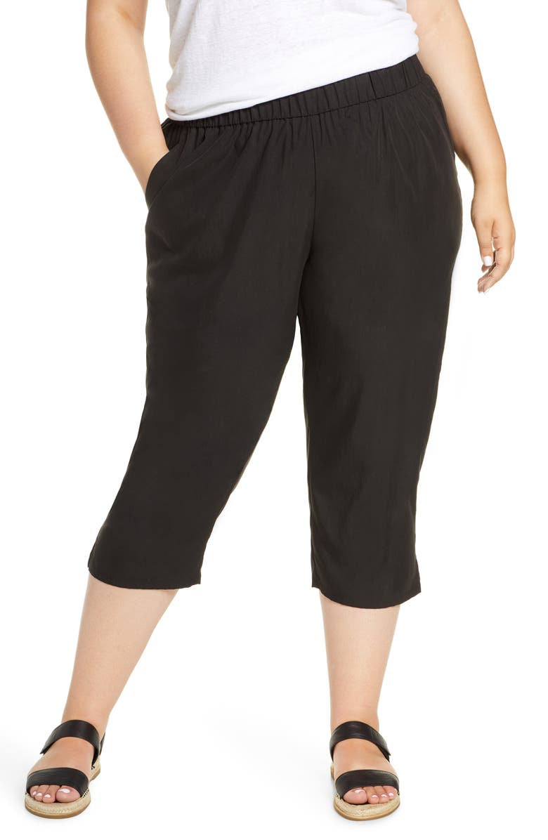 EILEEN FISHER Slouchy Crop Pants, Main, color, 001