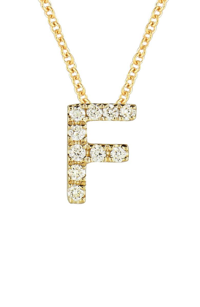 BONY LEVY 18k Gold Pavé Diamond Initial Pendant Necklace, Main, color, YELLOW GOLD - F