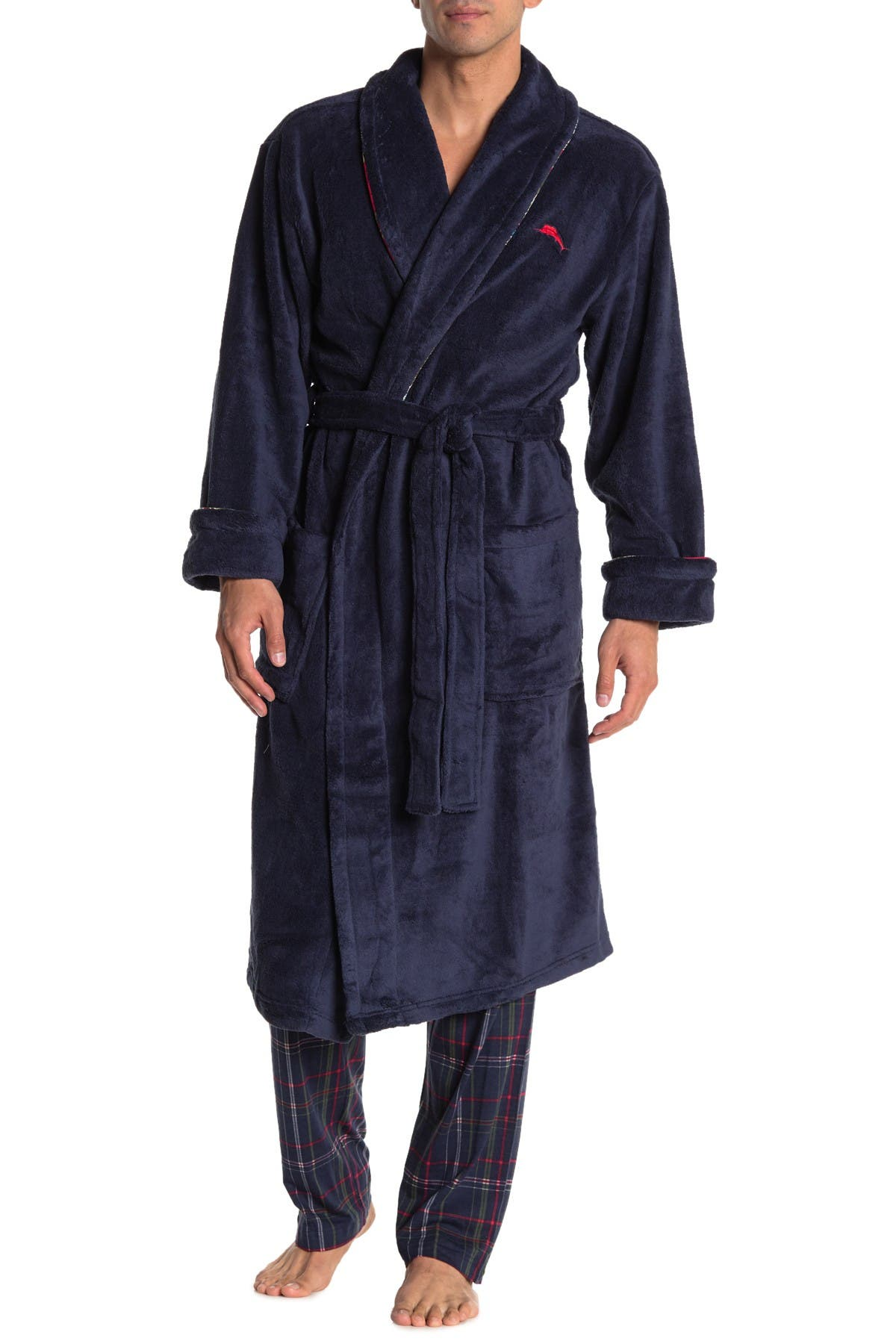 Image of Tommy Bahama Embroidered Back Plush Fleece Robe