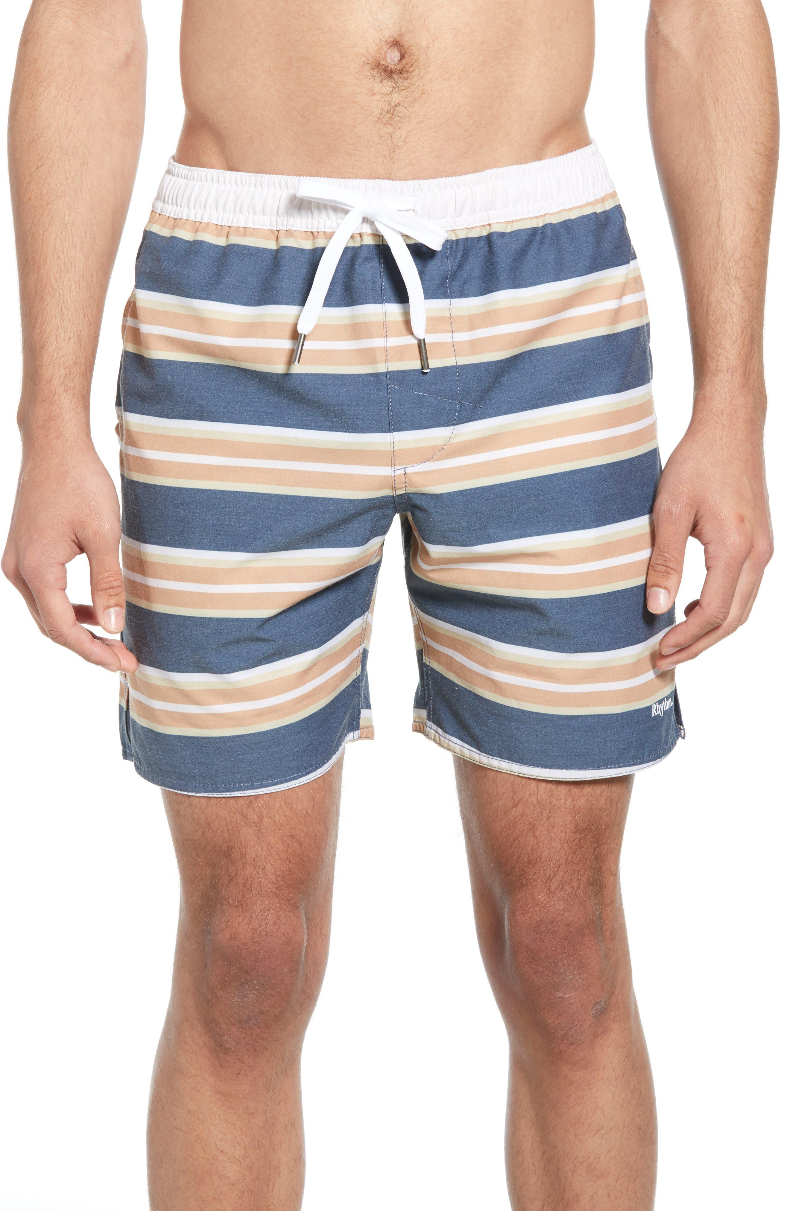 Rhythm Coastal Stripe Board Shorts, Blue
