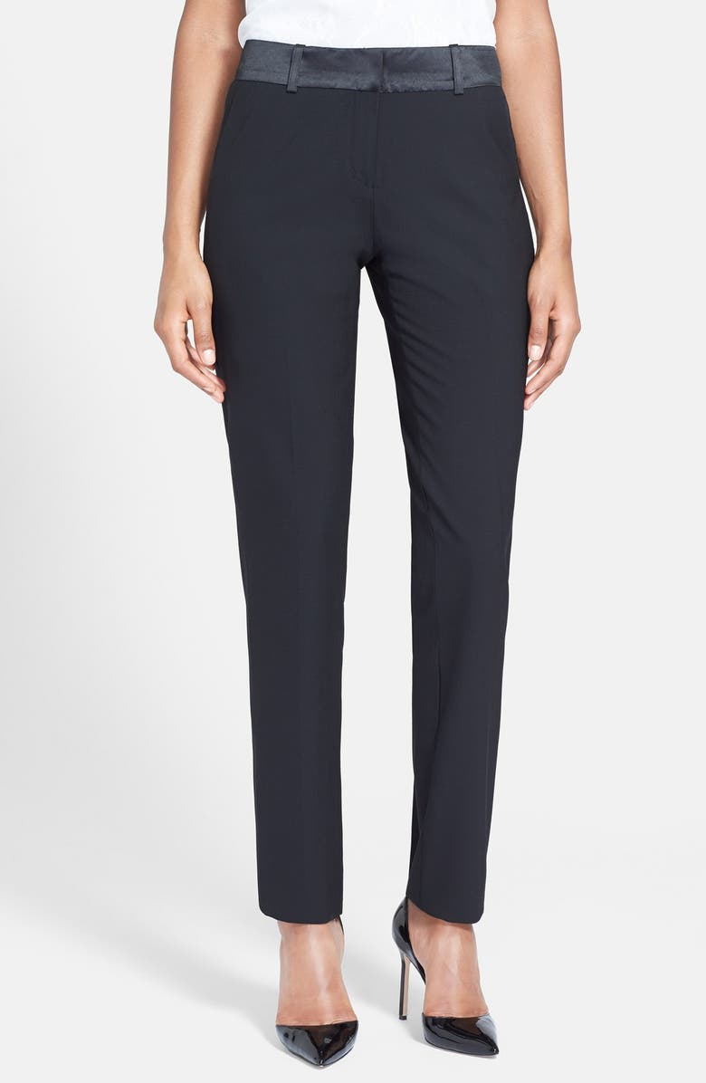 AFTER SIX Stretch Wool Tuxedo Pants, Main, color, BLACK