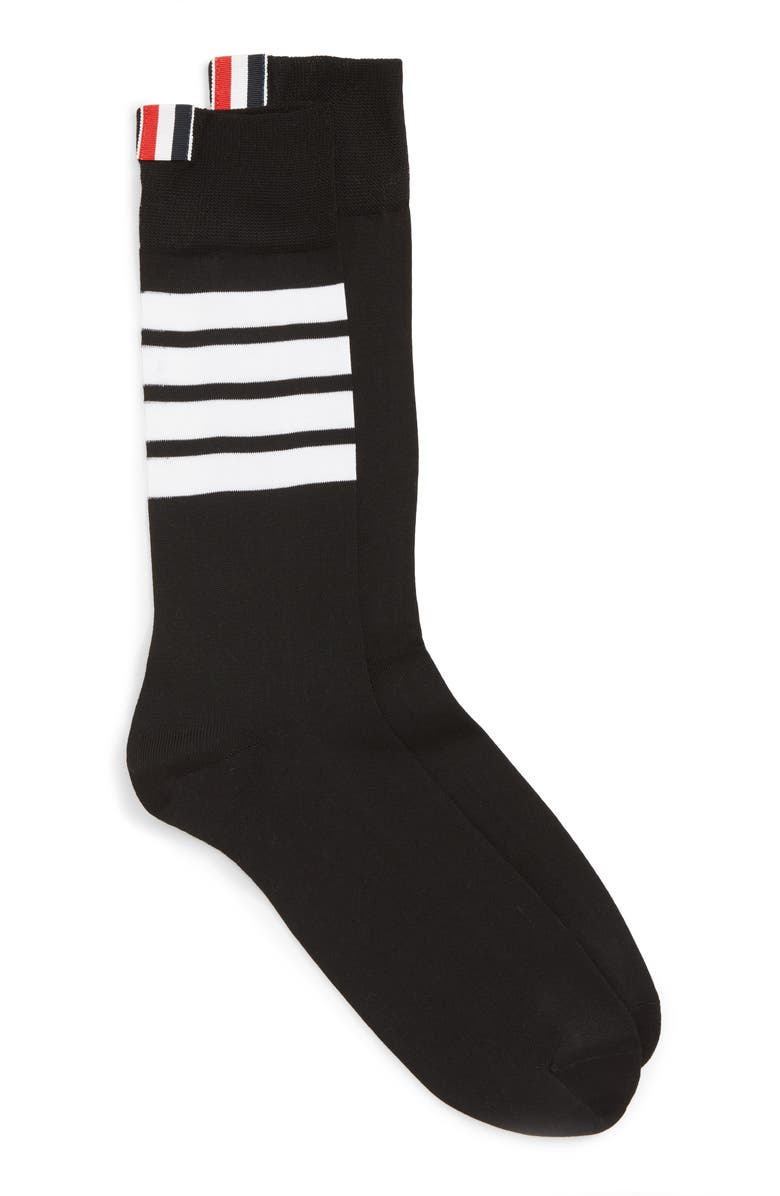 THOM BROWNE Bar Stripe Socks, Main, color, BLACK