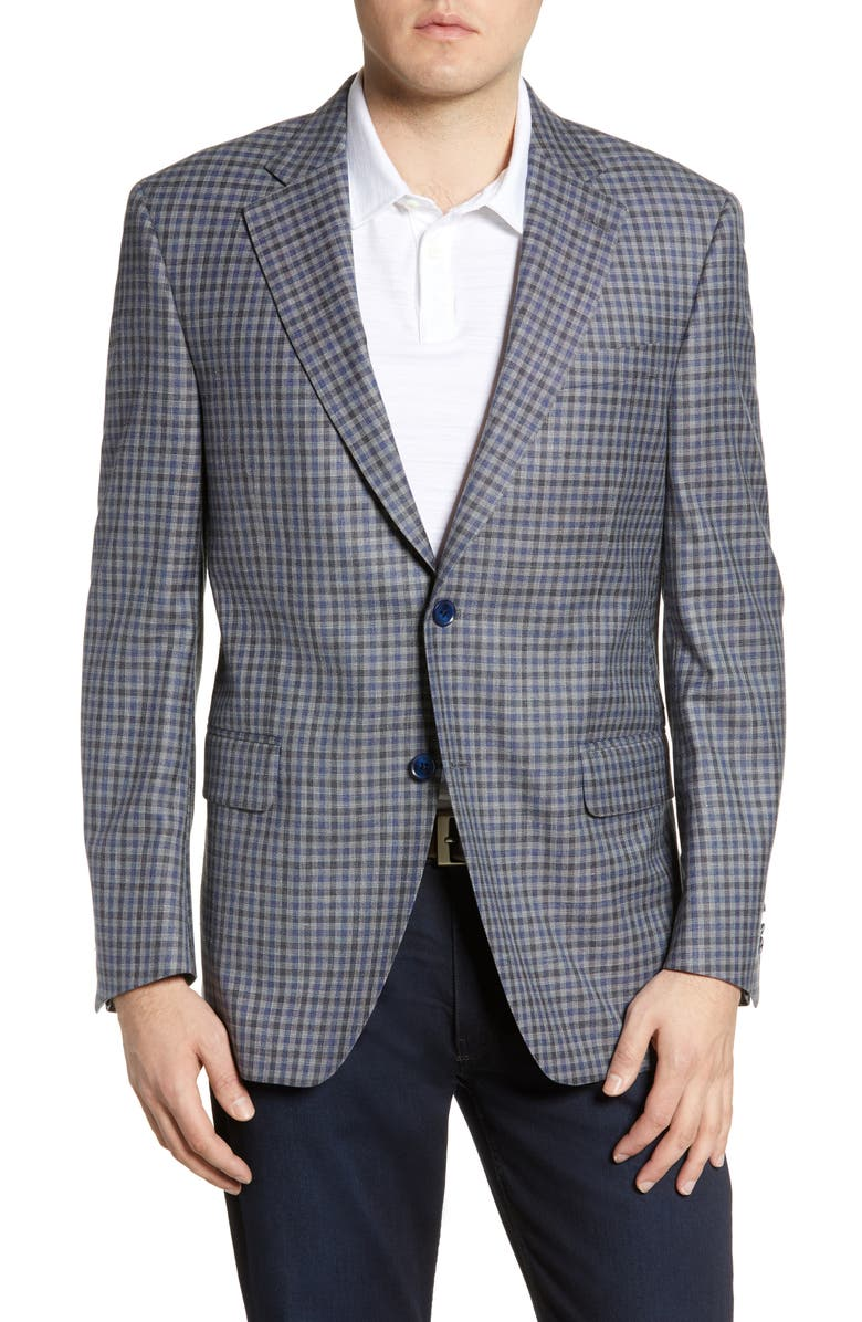 PETER MILLAR Hyperlight Classic Fit Check Wool Blend Sport Coat, Main, color, GREY