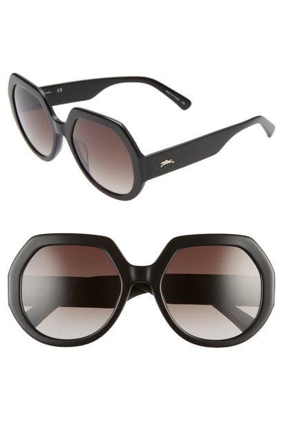 Longchamp Sunglasses 55MM GRADIENT GEOMETRIC SUNGLASSES - EBONY/ GREY
