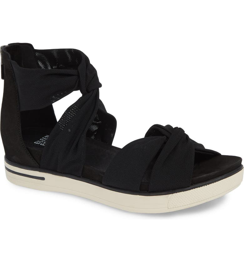 EILEEN FISHER Zanya Sandal, Main, color, BLACK FABRIC