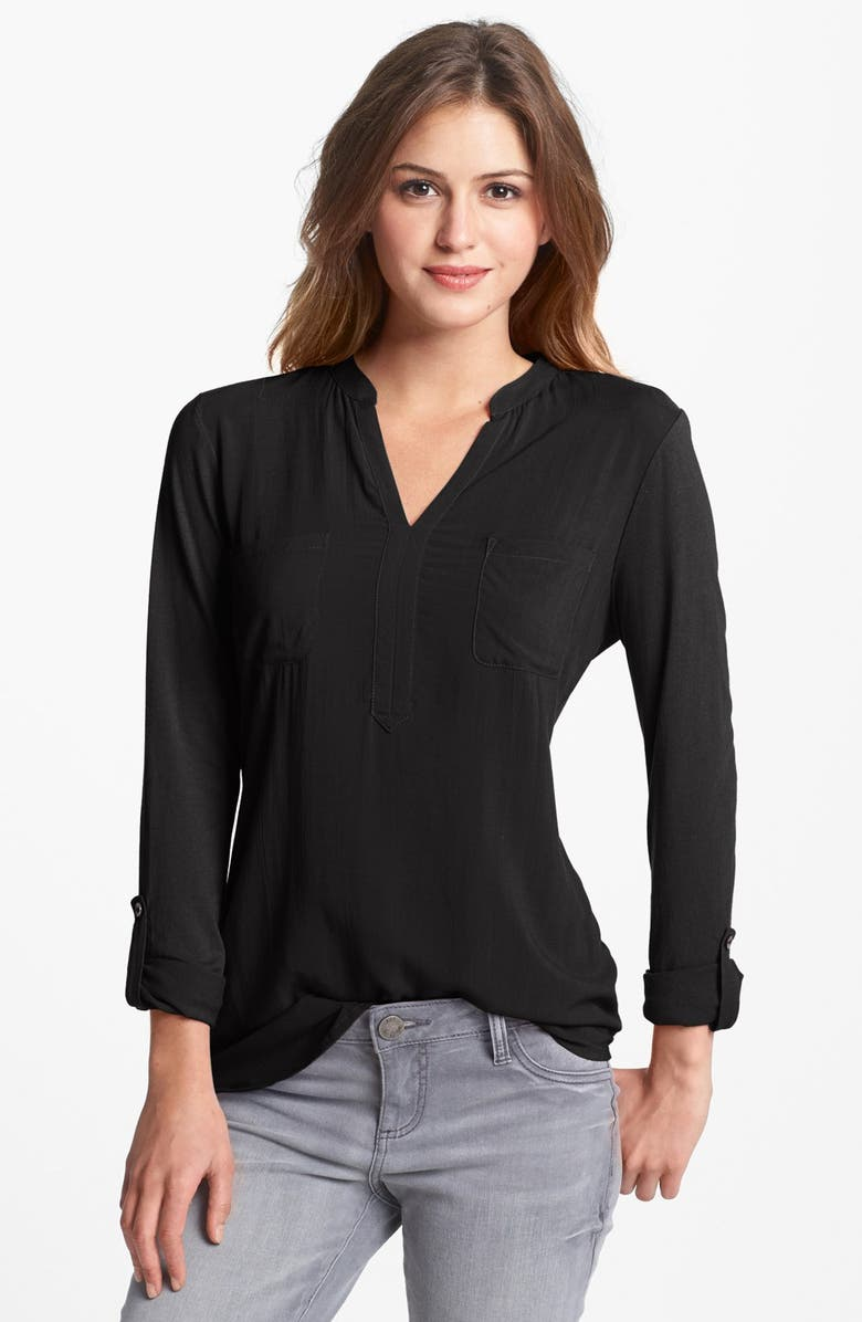 TWO BY VINCE CAMUTO Split Neck Mixed Media Top, Main, color, 001