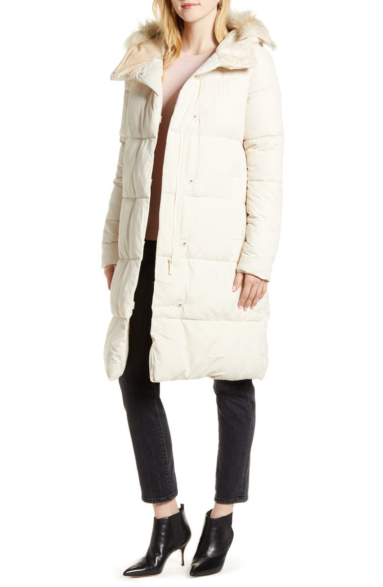 RACHEL PARCELL Hooded Puffer Coat with Faux Fur Trim, Main, color, IVORY CLOUD
