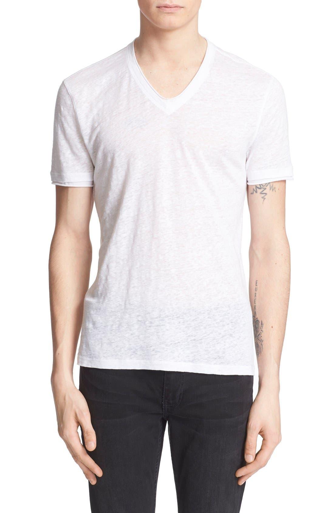 Linen Slim Fit V-Neck T-Shirt